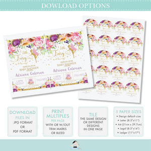 Chic Purple Pink Floral Fairy Water Bottle Wrapper Labels Editable Template Digital Printable File Instant Download FF2