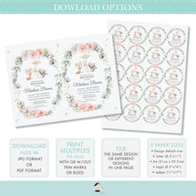 Load image into Gallery viewer, Woodland Pink Floral Greenery Lunch Dinner Menu Editable Template - Digital Printable File - Instant Download - WG10