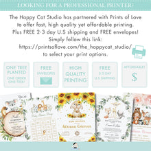Load image into Gallery viewer, Sunflower Floral Cute Bunny Rabbit Baby Shower 2 Inches Round Labels Editable Template - Digital Printable File - Instant Download - CB7