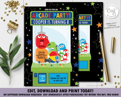 Arcade Claw Game Machine Birthday Party Invitation - Instant EDITABLE TEMPLATE - AC2