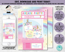 Load image into Gallery viewer, Arcade Unicorn Birthday Party Pink Invitation - Instant EDITABLE TEMPLATE - AC1