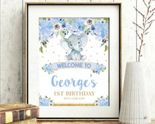 Load image into Gallery viewer, Blue-Floral-Elephant-Baby-Boy-Shower-Garden-Party-Welcome-Sign-Poster-Decor-Instant-Editable-Template