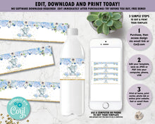 Load image into Gallery viewer, Blue Floral Elephant Water Bottle Labels - Instant EDITABLE TEMPLATE - EP6