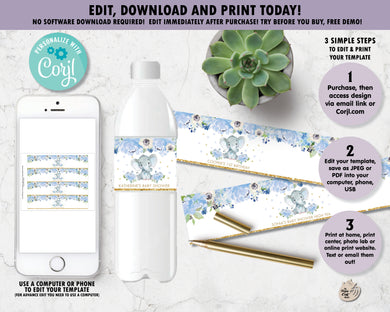 Blue Floral Elephant Water Bottle Labels - Instant EDITABLE TEMPLATE - EP6