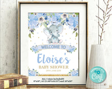 Load image into Gallery viewer, Blue-Floral-Elephant-Baby-Boy-Shower-Birthday-Party-Christening-Welcome-Sign-Poster-Decor-Instant-Editable-Template