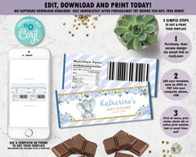 Load image into Gallery viewer, Blue-Floral-Elephant-Baby-Boy-Shower-Personalized-Chocolate-Bar-Wrappers-Editable-Template