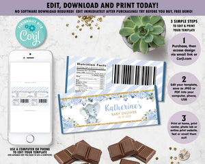Blue-Floral-Elephant-Baby-Boy-Shower-Personalized-Chocolate-Bar-Wrappers-Editable-Template