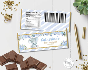 Blue-Floral-Elephant-Baby-Boy-Shower-Chocolate-Bar-Wrappers-Editable-Template