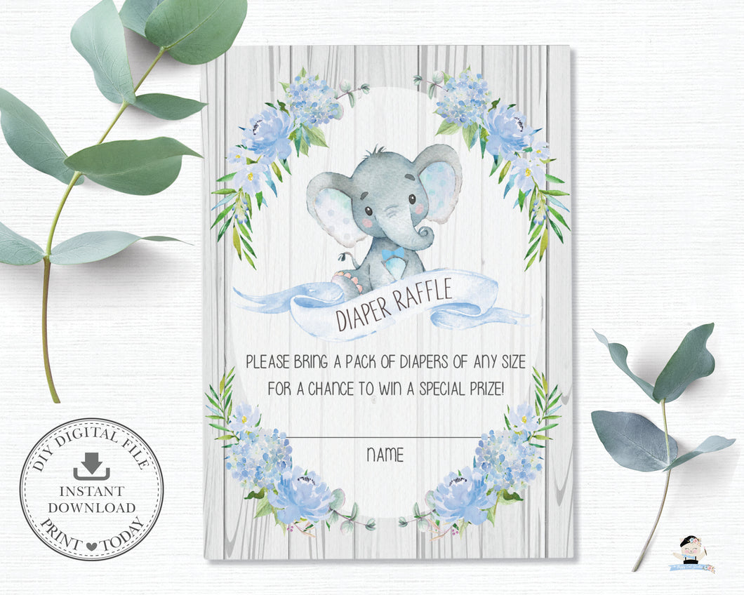 Rustic Blue Floral Elephant Baby Shower Diaper Raffle Card - Instant Download - EP4