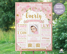 Load image into Gallery viewer, Blush Pink Floral 1st Birthday Photo Milestone Sign Birth Stats - EDITABLE TEMPLATE Instant Download Digital Printable File- BL1