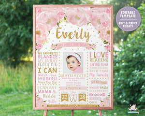 Blush Pink Floral 1st Birthday Photo Milestone Sign Birth Stats - EDITABLE TEMPLATE Instant Download Digital Printable File- BL1