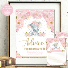 Load image into Gallery viewer, Blush Floral Elephant Advice for Mom / Parents to Be Signs and Note Cards Digital Printable File - Instant Download - EP5