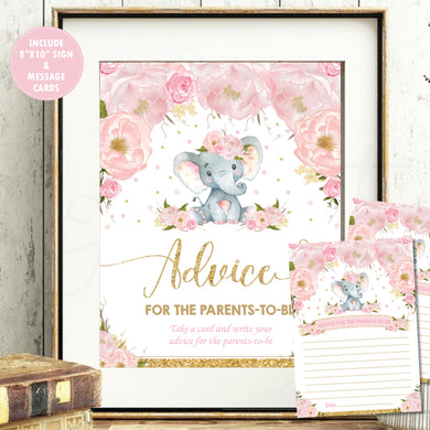 Blush Floral Elephant Advice for Mom / Parents to Be Signs and Note Cards Digital Printable File - Instant Download - EP5