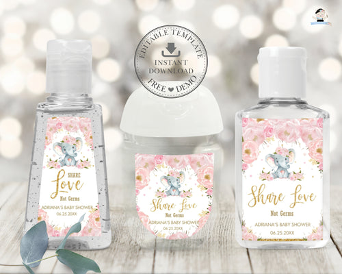 Chic Blush Pink Floral Elephant Hand Sanitizer Lotion Favor Labels Stickers Editable Template - Digital Printable File - Instant Download - EP5