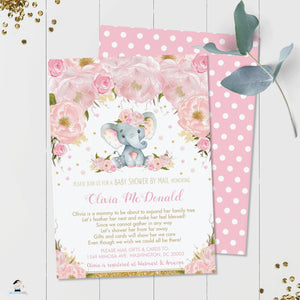 Blush Pink Floral Elephant Virtual Baby Shower by Mail Invitation Editable Template - Instant Download - Digital Printable File - EP5