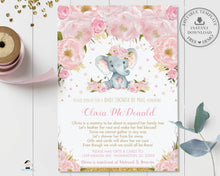 Load image into Gallery viewer, Blush Pink Floral Elephant Virtual Baby Shower by Mail Invitation Editable Template - Instant Download - Digital Printable File - EP5