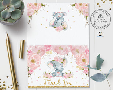 Blush Floral Elephant Tent Folded Thank You Card - Instant Download - Digital Printable File - EP5