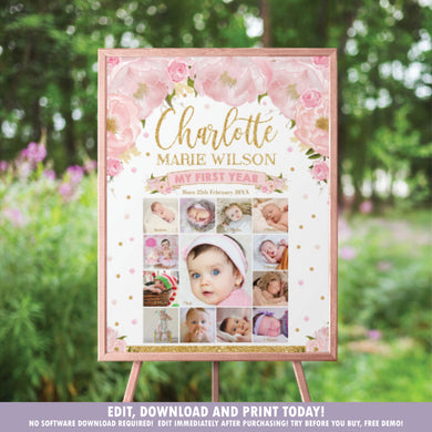 Blush Floral Baby First Year Photo Collage 1st Birthday Milestone 20