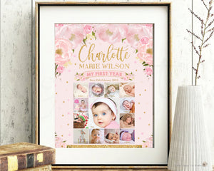 "Blush Floral Baby First Year Photo Collage 1st Birthday Milestone 20""x30"" Editable Template - Digital Printable File - Instant Dowload - BL1"