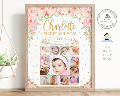 Pink Floral Gold Baby First Year Photo Collage Milestone Sign - Editable Template - Digital Printable File - Instant Download - TC1