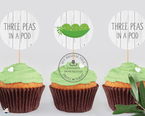 "Cute Three Peas in a Pod Triplets Baby Shower 2"" Circle Labels Digital Printable File - Instant Download - BP1"