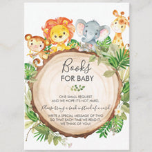 Load image into Gallery viewer, 100x Cute Jungle Animals Safari Baby Shower Bring a Book Instead of a Card Insert