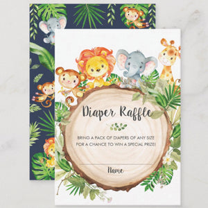 100x Cute Jungle Animals Safari Baby Shower Diaper Raffle Tickets Insert Cards
