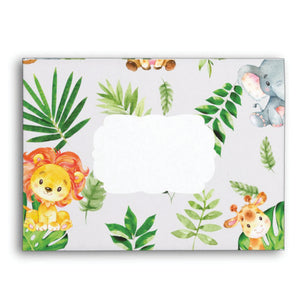 10x Cute Jungle Animals Safari 1st First Birthday Baby Shower Personalized A7 Envelopes