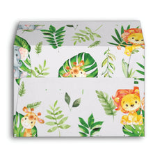 Load image into Gallery viewer, 10x Cute Jungle Animals Safari 1st First Birthday Baby Shower Personalized A7 Envelopes