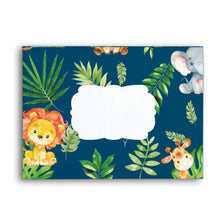 Load image into Gallery viewer, 10x Cute Jungle Animals Safari 1st First Birthday Baby Shower Personalized A7 Navy Blue Envelopes