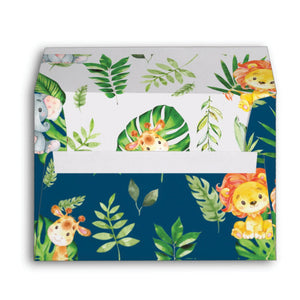 10x Cute Jungle Animals Safari 1st First Birthday Baby Shower Personalized A7 Navy Blue Envelopes