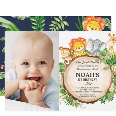 Cute Jungle Animals Safari 1st First Birthday Party Personalized Photo Card Stock Invitation