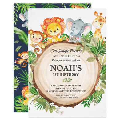 Cute Jungle Animals Safari 1st First Birthday Party Personalized Invitation