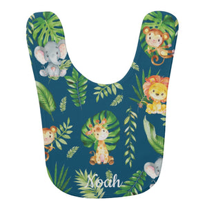 Cute Jungle Animals Safari Personalized Baby Bib