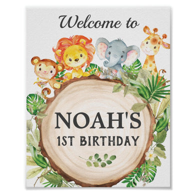 Cute Jungle Animals Safari Birthday Party Baby Shower Personalized Welcome Sign Poster