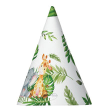 Load image into Gallery viewer, 12x Cute Jungle Animals Safari 1st First Birthday Party Personalized Cone Hats