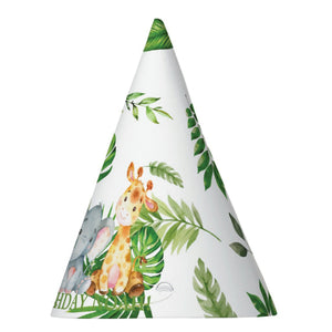 12x Cute Jungle Animals Safari 1st First Birthday Party Personalized Cone Hats