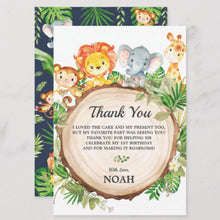 Load image into Gallery viewer, Cute Jungle Animals Safari 1st First Birthday Party Personalized Thank You Note Card