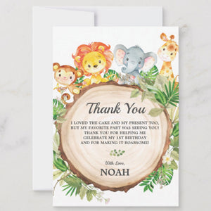 Cute Jungle Animals Safari 1st First Birthday Party Personalized Thank You Note Card