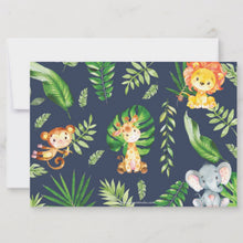 Load image into Gallery viewer, Cute Jungle Animals Safari 1st First Birthday Party Personalized Photo Thank You Note Card