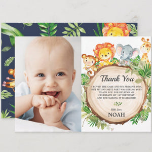 Cute Jungle Animals Safari 1st First Birthday Party Personalized Photo Thank You Note Card