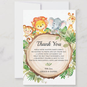 Cute Jungle Animals Safari Baby Shower Personalized Thank You Note Card