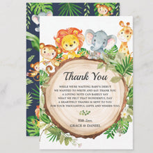 Load image into Gallery viewer, Cute Jungle Animals Safari Baby Shower Personalized Thank You Note Card
