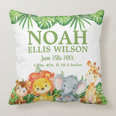 Cute Jungle Animals Safari Personalized Baby Birth Stats Cushion Thow Pillow