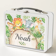 Load image into Gallery viewer, Cute Jungle Animals Safari Personalized Vintage Metal Lunch Box