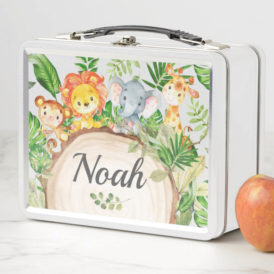 Cute Jungle Animals Safari Personalized Vintage Metal Lunch Box