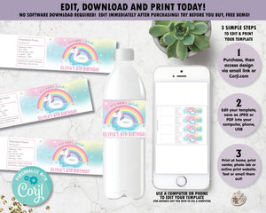 Unicorn Pool Birthday Party Water Bottle Labels - Instant EDITABLE TEMPLATE - UF1