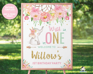 Elephant Wild One Boho Pink Floral Dream Catcher 1st Birthday Welcome Sign Editable Template - Digital Printable File - Instant Download - BF2