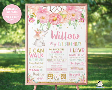 Elephant Boho Pink Floral Dream Catcher 1st Birthday Milestone Sign / Birth Stats - Sign Editable Template - Digital Printable File - Instant Download - BF2