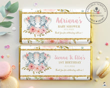 Load image into Gallery viewer, Pink Floral Elephant Twins Girls Baby Shower Birthday Chocolate Bar Wrapper Aldi Hershey's - Editable Template - Instant Download - Digital Printable File - PK2